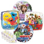 """18"""" Licensed Character Birthday Balloon Assortment W/Ribbon/Weight"""