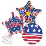 """18"""" Patriotic Balloon Assortment with Weight"""