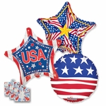 "18"" Patriotic Balloon Assortment with Weight"