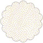 "18"" Pink and Yellow Dots Scalloped Cellophane Sheets"