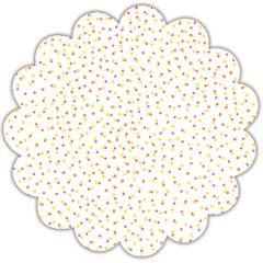 """18"""" Pink and Yellow Dots Scalloped Cellophane Sheets"""