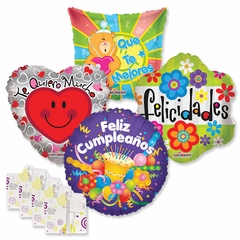 "18"" Spanish Everyday Balloon Assortment with Weight"