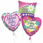 "18"" Spanish Mother's Day Balloon Assortment with Ribbon"