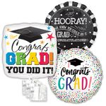 Assorted Grad Jumbo Balloons with Ribbon Weights