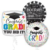 Assorted Grad Jumbo Balloons with Ribbons