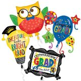 Assorted Grad Shape Balloons with Ribbons