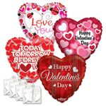 Assorted Valentine 18'' Balloons with Ribbon Weights