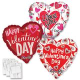 Assorted Valentine Jumbo Balloons with Ribbon Weights