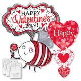 Assorted Valentine Shape Balloons with Ribbon Weights