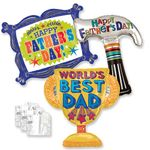 Father's Day Helium Shape Balloons with Ribbon and Weights