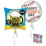 Father's Day Jumbo Helium Balloon Assortment with Ribbon and Weights