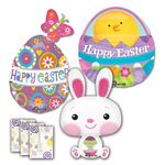 Large Easter Shape Balloons w/Ribbon & Weight