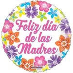 "18"" Feliz Dia Las Madres Colorful Flowers Balloon"