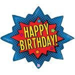 Superhero Birthday Burst Shape Balloon