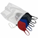 5 Pack of Polyester Face Masks in Dark Colors w/ Mesh Laundry Bag