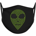 Alien Head Design Bling Rhinestone Face Mask - 6 Color Options