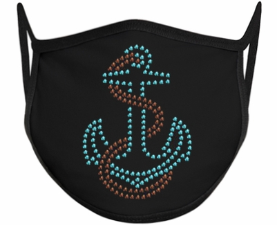 Anchor Design Bling Rhinestone Face Mask - 6 Color Options