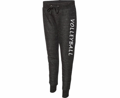 Black Heather Ladies Fleece Jogger Pants w/ Volleyball Printed on Leg