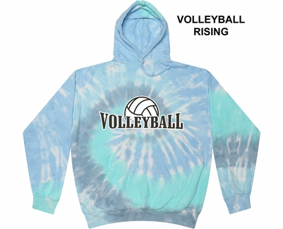 Blue Lagoon Swirl Tie-Dye Hooded Sweatshirt - Choice of 12 Volleyball Designs
