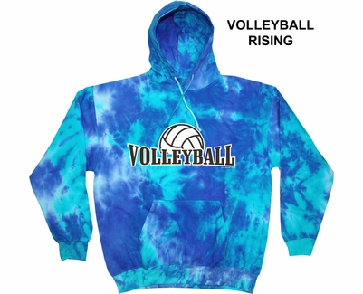 Blue & Teal Mix Tie-Dye Hooded Sweatshirt - Choice of 12 Volleyball Designs