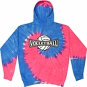 Bright Blue & Pink Tie-Dye Hooded Sweatshirt - Choice of 10 Volleyball Designs