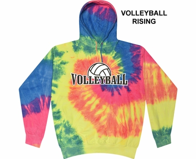 Bright Rainbow Tie-Dye Hooded Sweatshirt - Choice of 10 Volleyball Designs