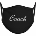 Coach Script Font Bling Rhinestone Face Mask - 6 Color Options