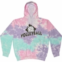 Cotton Candy Pastel Tie-Dye Hooded Sweatshirt - Choice of 12 Volleyball Designs