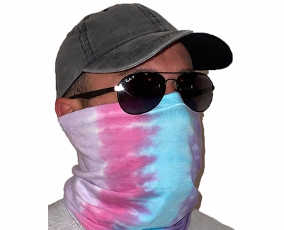 Cotton Candy Tie Dye Neck Gaiter / Face Covering