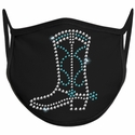 Cowboy Boot Design Bling Rhinestone Face Mask - 6 Color Options
