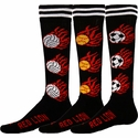 Flaming Volleyball, Softball, Soccer Ball Black Knee High Socks