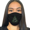 Holiday Tree Rhinestone Bling 2-Ply Face Masks in 7 Mask Colors