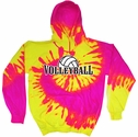 Hot Pink & Yellow Tie-Dye Hooded Sweatshirt - Choice of 12 Volleyball Designs