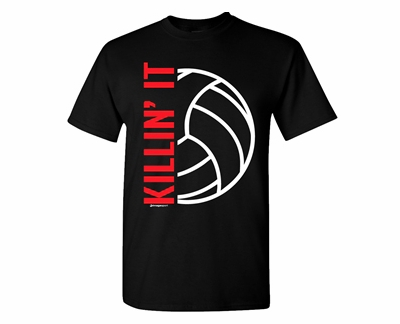 Killin' It Volleyball Design Black T-Shirt