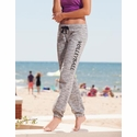 Ladies Marled Black Joggers w/ Volleyball Printed on Leg