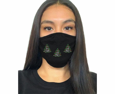 Lighted Trees 2-Ply Bling Rhinestone Face Masks in Choice of 3 Colors