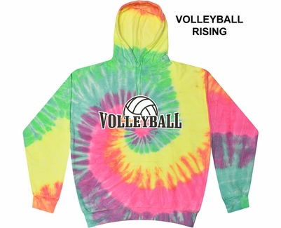 Minty Rainbow Swirl Tie-Dye Hooded Sweatshirt - Choice of 12 Volleyball Designs