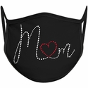 Mom Heart Script Bling Rhinestone Face Mask - 6 Color Options