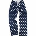 Navy Blue & White Polka Dot Flannel Pants - Choice of 22 Sports on Leg or Rear