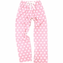 Pale Pink & White Polka Dot Flannel Pants - Choice of 22 Sports on Leg or Rear