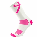 Pink Ribbon Aware Performance White Crew Socks