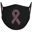 Pink Ribbon Design Bling Rhinestone Face Mask - 6 Color Options