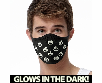 Pumpkin Faces Glow In The Dark 2-Ply Face Mask - 3 Color Options