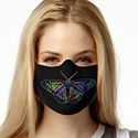 Rainbow Butterfly Design Jersey Face Mask in 8 Color Options