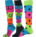 Rainbow Neon Striped Knee High Socks - in 3 Pattern Options