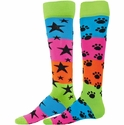 Rainbow Neon Striped Knee High Socks - in Stars or Paws