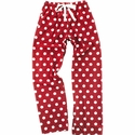 Red & White Polka Dot Flannel Pants - Choice of 22 Sports on Leg or Rear