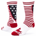 Red White & Blue USA Stripes & Stars Fifty Crew Socks
