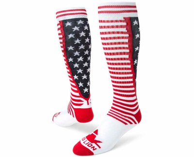 Red White & Blue USA Stripes & Stars United Knee High Socks