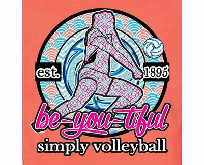 Simply Volleyball Be-You-Tiful Player Design Neon Coral Long Sleeve Shirt